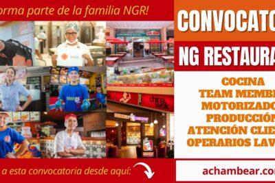 Nueva convocatoria NG RESTAURANTS